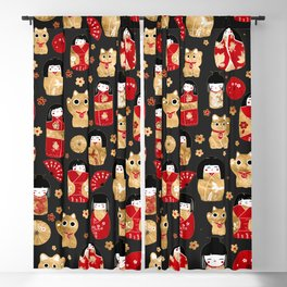 Japanese Dolls - Kokeshi and Maneki Neko Cats Blackout Curtain