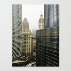 Chicago Buildings in Fog Color Photo Canvas Print