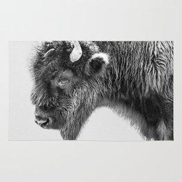Animal Photography   Bison Portrait   Black and White   Minimalism Rug