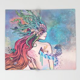 The Last Mermaid Throw Blanket