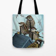 Smoking Birds Print Tote Bag