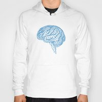 psychology Hoodies featuring blue human brain by Illustree