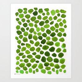 Emerald Green Stones Watercolor Minimalism Painting Art Print