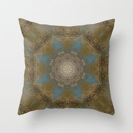 Gold Liquid Turquoise Star Elegance Throw Pillow
