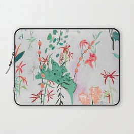 Abstract Jungle Floral on Pink and White Laptop Sleeve