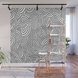 Black and white hand drawn pattern Wall Mural