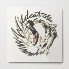 Wildcat Roar - Mountain Lion - Taupe Gray Metal Print