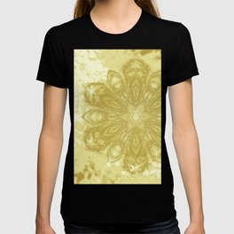 Gold lace textured mandala T-shirt