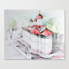 Perspective drawing illustration of a Christian church Canvas Print
