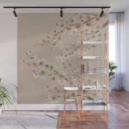 Cherry Blossom in Taupe Wall Mural