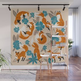 Foxes & Blooms – Tan & Blue Wall Mural