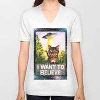 i want to believe V-neck T-shirts featuring I Want To Believe by Ariana Victoria Rose