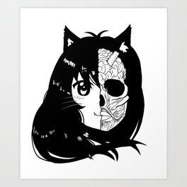 Neko girl - The ears Art Print