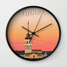 Istanbul Illustration Wall Clock