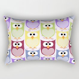 Colorful Owls - Green Blue Purple Yellow Rectangular Pillow