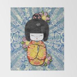 Horror Vacui - Kokeshi01 Throw Blanket