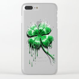 Four Leaf Clover Melting Luck Clear iPhone Case