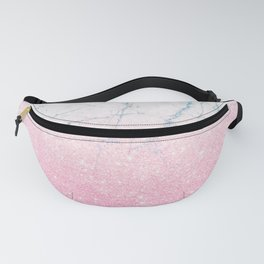 Pink gold glitter and azure white marble Fanny Pack