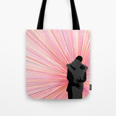 Red and Black Radiant Romantic Illustration with Embracing Silhouettes Tote Bag