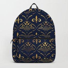 Elegant Fleur-de-lis pattern - Gold and deep blue Backpack