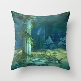 Underwater Ruins Throw Pillow