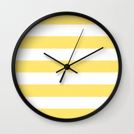 Shandy - solid color - white stripes pattern Wall Clock