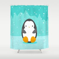 penguin Shower Curtains featuring Penguin by eDrawings38