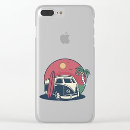 Simple Life Vintage Beach Palm Tree Surf Bus  Clear iPhone Case