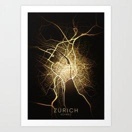 zürich Switzerland city night light map Art Print