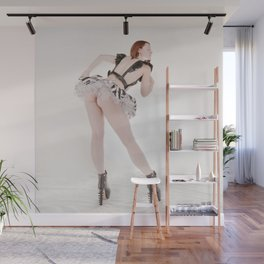 0924s-MM Megan in Black Leather Halter Striped Skirt Funky Boots Bending Over Wall Mural