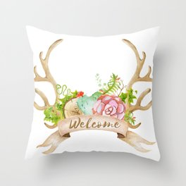 Welcome Antlers Throw Pillow