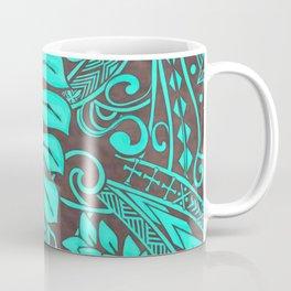 Teal Polynesian Tropical Leaf Design Coffee Mug