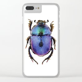 Blue ombre beetle watercolor Clear iPhone Case
