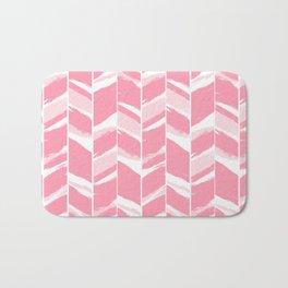 Modern abstract pink geometric brushstrokes chevron pattern Bath Mat