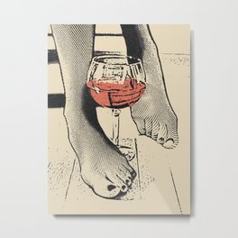 Perfect saturday night - kinky feets fetish artwork, woman in bodystocking with wine glass Metal Print