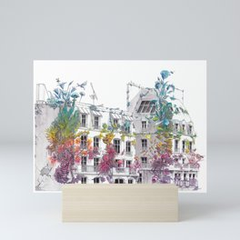 Parisian Roofs - Surrealistic Post Apocalyptic Watercolor Painting Mini Art Print