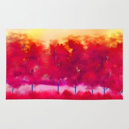 Sunset in Fall Abstract Landscape Rug