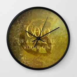 GOLD for a bride in her wedding gown. Shadowhunter Children's Rhyme. Wall Clock