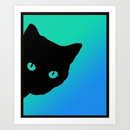 Black Cat Blue Green Tshirt Art Print