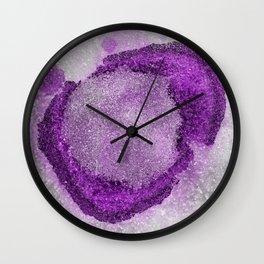 Crystals and purple alcohol ink circles art Wall Clock