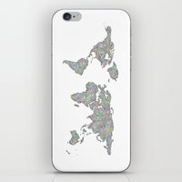 map of the world iPhone & iPod Skins featuring World map by David Zydd