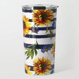 Stripes and Sunflowers Travel Mug