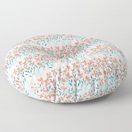 Watercolor Peach Flowers Floor Pillow
