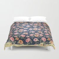 vintage flowers Duvet Covers featuring Vintage flowers by MJ'designs - Marosée Créations
