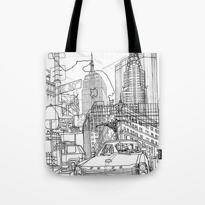 New York! B&W Tote Bag