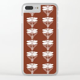 Copper Red Arts and Crafts Dragonflies Clear iPhone Case