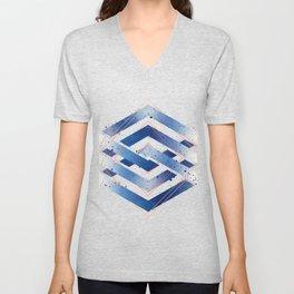 Floating Geometry :: Winter Hexagon Unisex V-Neck