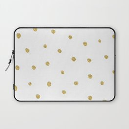 Golden touch I - Gold glitter small polka dots pattern - Confetti Laptop Sleeve