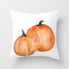 Orange pumpkins watercolor Throw Pillow