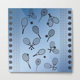 Tennis border blue Metal Print